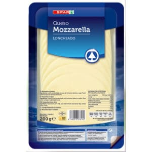 QUESO MOZZARELA NATURAL SPAR LONCHAS 200 G.