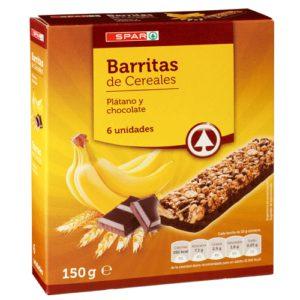 BARRITAS CEREALES PLATANO Y CHOCOLATE SPAR