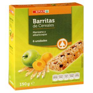 BARRITAS CEREALES MANZANA Y ALBARICOQUE SPAR