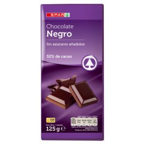 CHOCOLATE FONDANT NEGRO SIN AZÚCAR SPAR 125 G.