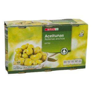 ACEITUNAS RELLENAS ANCHOA SPAR 150 G. PACK-3