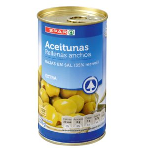 ACEITUNAS RELLENAS DE ANCHOA SPAR BAJAS EN SAL 150 G.