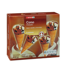 CONOS VAINILLA Y CHOCOLATE SPAR 6X120 ML