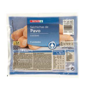 SALCHICHAS DE PAVO SPAR 5 UND. 200 G.