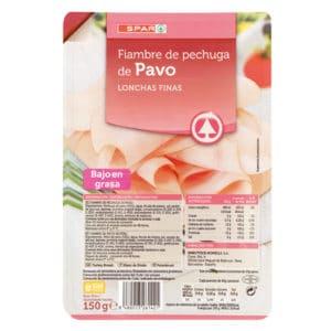 PECHUGA DE PAVO LONCHAS FINISIMAS SPAR 150 G.