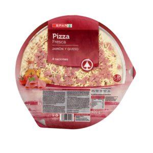 PIZZA REFRIGERADA JAMÓN Y QUESO SPAR 400 G.