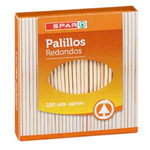 PALILLOS REDONDOS MADERA SPAR 230 UND.