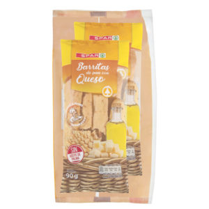 BARRITAS DE PAN CON QUESO SPAR 90 GRS. PACK-2