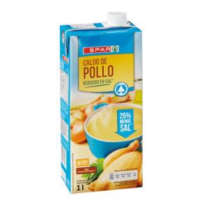 CALDO DE POLLO REDUCIDO EN SAL SPAR BRIK 1 L.