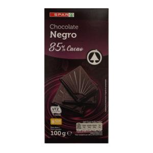 CHOCOLATE NEGRO INTENSO 85% CACAO SPAR 100 GRS.