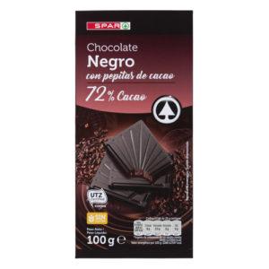 CHOCOLATE NEGRO 72% CON PEPITAS DE CACAO SPAR 100 GRS.