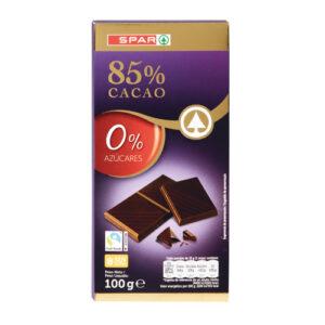 CHOCOLATE NEGRO 85% DE CACAO SIN AZÚCAR SPAR 100 GRS.
