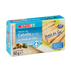 FILETES DE CABALLA DEL SUR SPAR EN ACEITE DE OLIVA BAJA EN SAL LATA 90 GRS. P.N.