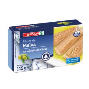 FILETES DE MELVA EN ACEITE DE OLIVA SPAR 115 GRS. P.N.