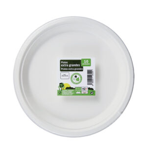 PLATO EXTRA GRANDE COMPOSTABLE Y BIODEGRADABLE 25 CM. 10 UND.